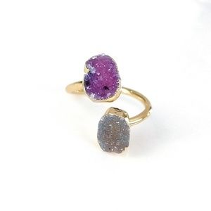 Gold-plated genuine druzy wrap ring